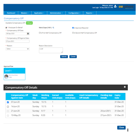 Monitor and Manage employee Leave & Comp-off with Emsphere workforce management software.