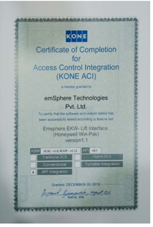 Certificate from Kone for Access Control Integration
